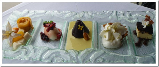 dessert sampler including delicacies such as lucuma mousse, keylime pie, and chirimoya salad