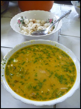 caldo de barrego with a side of hominy
