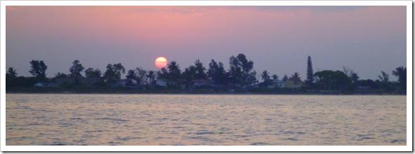 a hazy seaside sunset