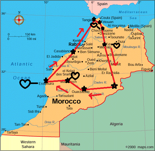 Our route across Morocco